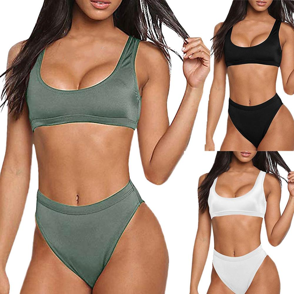 Swimwear Women Swimsuit Push-Up Bikini Set Sports Style Low Round Neck Swimwear Beachwear Swimsuit Sexy Bikini Traje De Baño #7