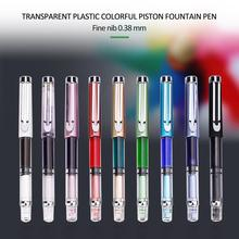 WING SUNG 3008 9 Color 0.38/0.5mm Transparent Pick Transparent Fountain Pen Portable Gift Writing Office Fountain Pen Premium