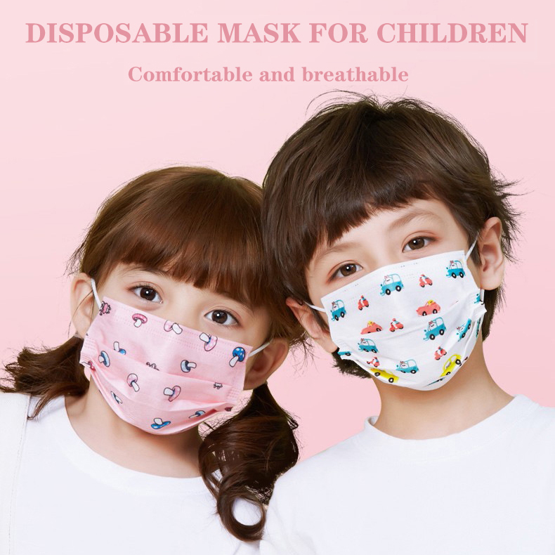 50pcs Childrens Kids Anti-dust Disposable Mouth Masks Earloop Non-woven 3-ply Antifog Face Mask Cartoon Print Blue White Mask