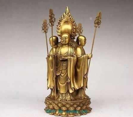 "311 Besar Kuningan Kecil Cina Perunggu 4-Wajah Ksitigarbha Patung Buddha Gambar 8.5 ""H Dekorasi 100% Kuningan Perunggu"