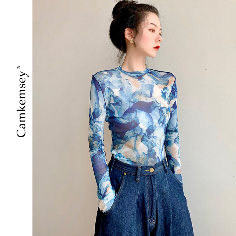 CamKemsey весенние женские футболки с длинным рукавом 2020 новые индивидуальные прозрачные сетчатые футболки с рисунком высокого качества