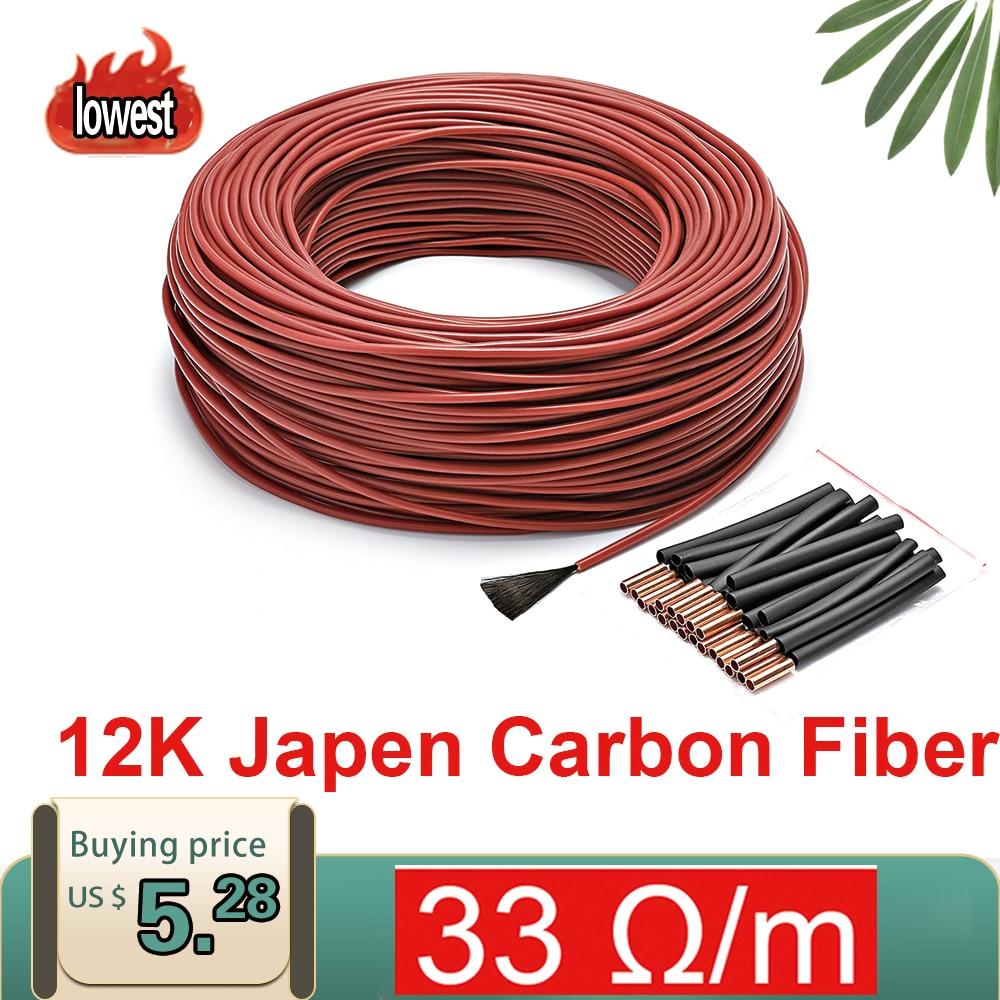 Лучшая цена 10 м 15 м Minco Heat 12k 33 Ом нагревательный кабель из фторпластика и углеродного волокна нагревательный кабель для пола Электрический нагревательный провод, нагреватель для комнаты