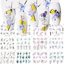 Harunouta 12 estilos/folha de flor decalques água do prego primavera diy slider para a arte do prego watermark decoração