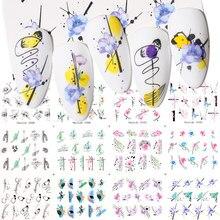 Harunouta 12Pcs Sexy Girl linee geometriche adesivi per acqua per unghie primavera semplice fiore foglie decalcomanie cursore decorazione per unghie fai da te