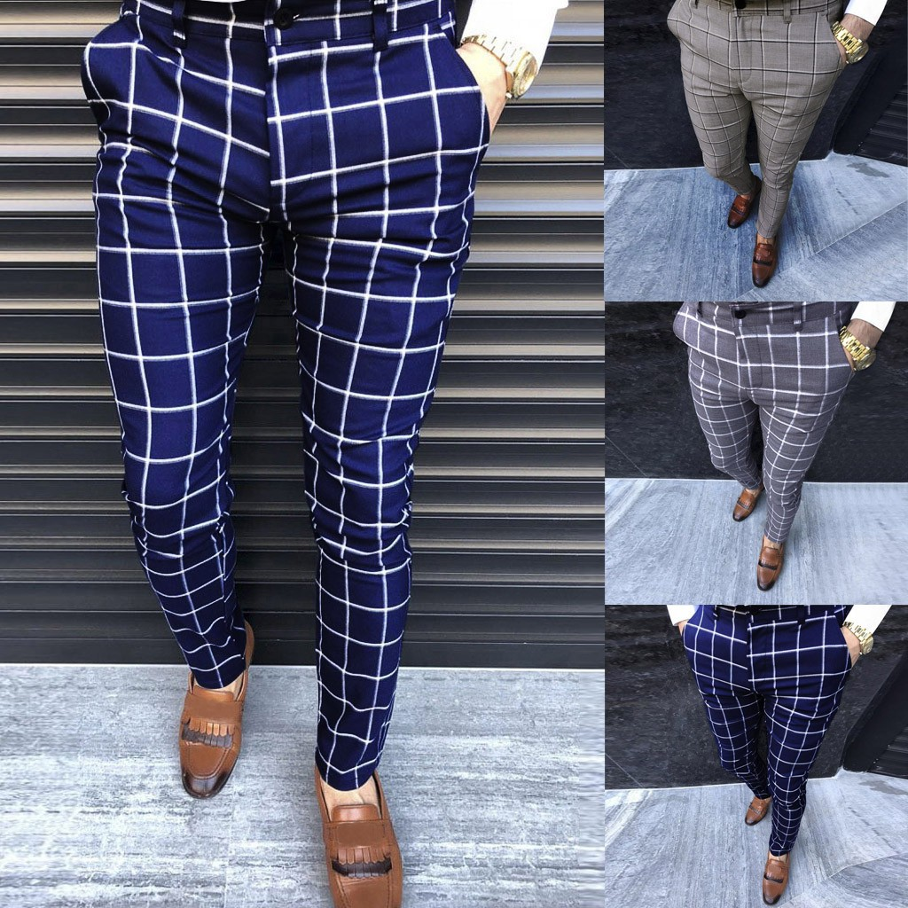 Fashion Men Casual Business Slim Fit Striped Print Zipper Long Pants Trousers M-2XL pantalones hombre streetwear joggers#G2