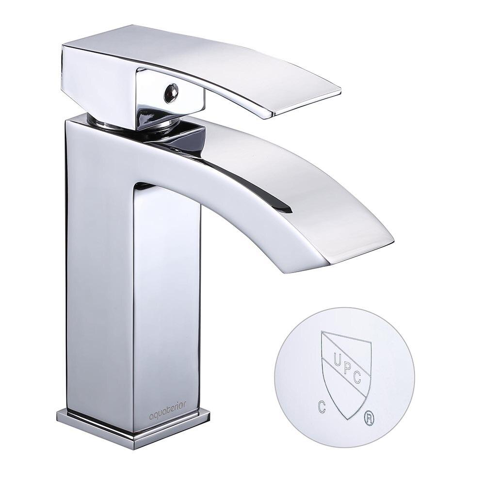 Waterfall Spout One Hole Bathroom Sink Basin Faucet Single Handle