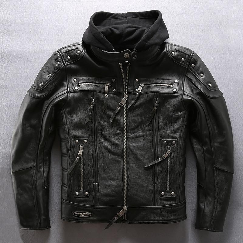Men's brand hooded motorcycle rivet moto biker genuine jacket men Two-piece set winter leather coat male