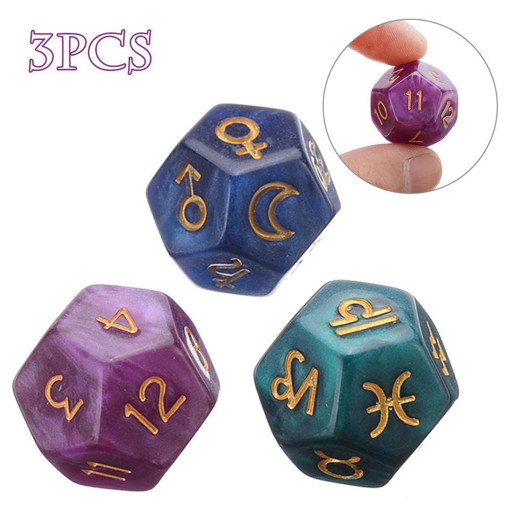 3Pcs 12-Sided Astrology Zodiac Game Dice Resin Tweezers Astrology Tarot Constellation Divination Dice
