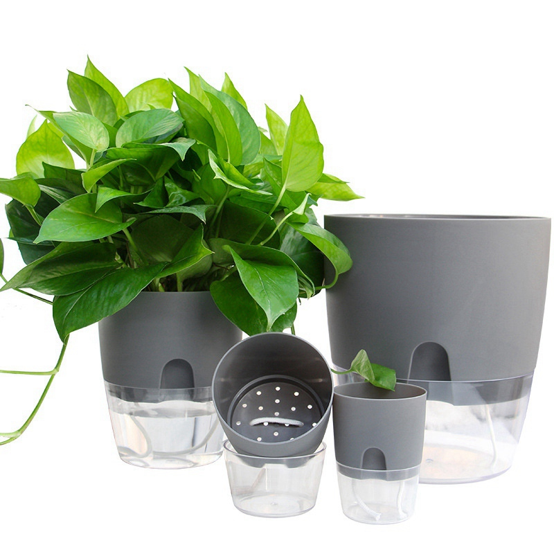 2 Layer Watering Planter Handmade Self Watering Plant Flower Pot With Water Container Home Garden Decor Round Flowerpot