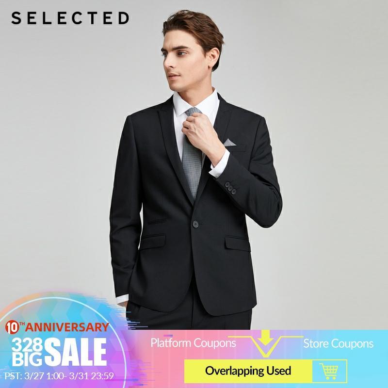SELECTED Men's Slim Fit Pure Color Jacket Business Casual Blazer S|42015X512