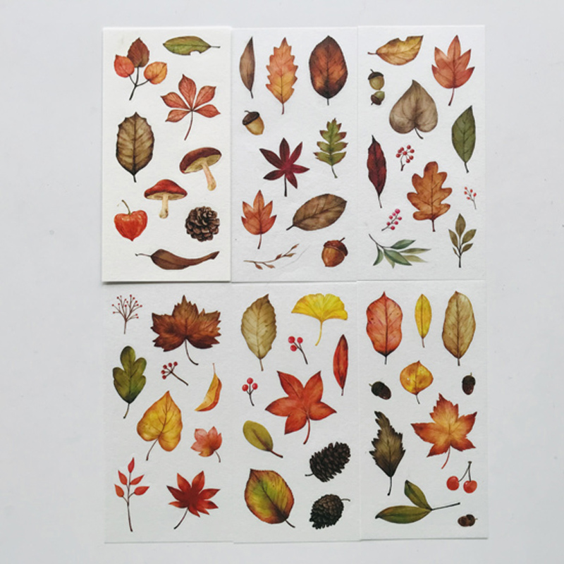 6 Sheets Autumm Leaves Paper Stickers DIY Decorative Sealing Paste Stick Label
