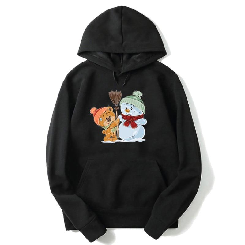 Fashion Black Pink White Boy Hoodie Cartoon Bear Print Toddler Girl Sweatshirts Winter Warm Girl Outfits Bluza Dla Dziewczynki