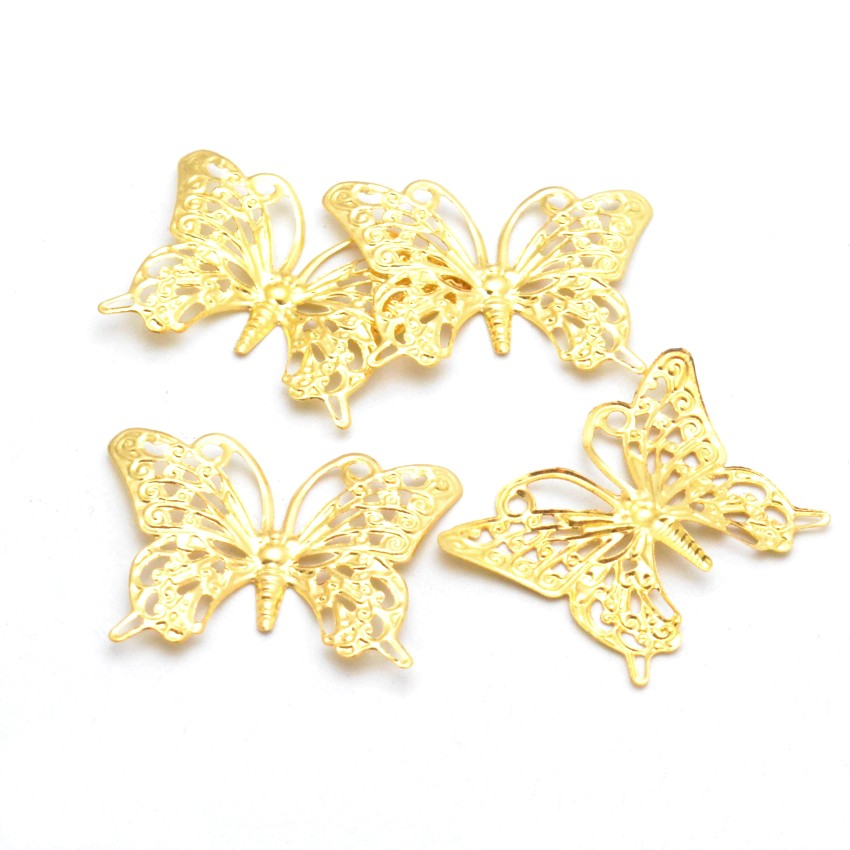 Retail 10Pcs Gold Plated Butterfly Filigree Wraps Connectors Metal Crafts Gift Decoration DIY 26*36mm