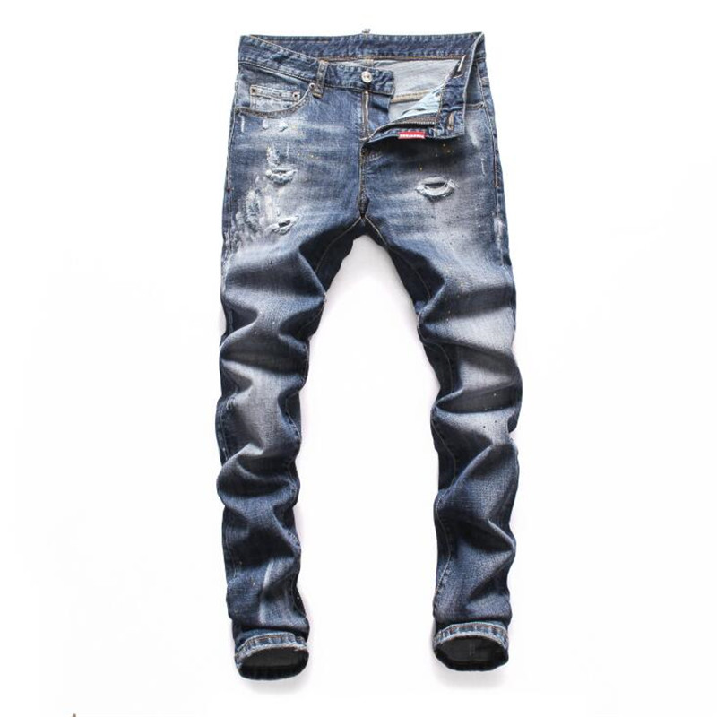 2020 New arrival famous Brand slim fit summer fashion patchwork denim ripped zipper biker skinny jeans hole for man Freeshipping