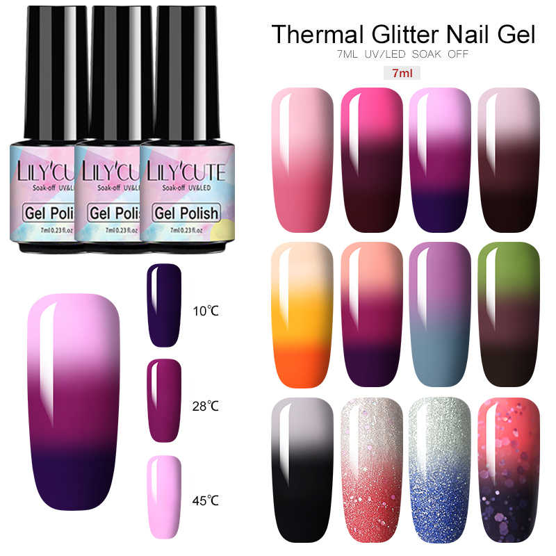 LILYCUTE 3 Warna Thermal Kuku Gel Polandia Suhu Warna Berubah Glitter Suhu Rendam Off UV Gel Nail Varnish