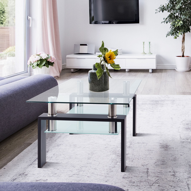 Living Room Furniture Double Layer  Rectangle Glass Coffee Table Clear Home Furniture Side Table Coffee Table For Living Room 2