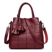 ABDB Handbags Women Bags Designer Genuine Leather handbags Women Shoulder Bag Female crossbody messenger bag sac a main(Red wi