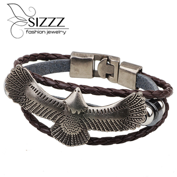 Vintage Jewelry Eagle Leather Bracelet Hand Make Wholesale Multilayer braided Wrap For Men And Women pulseira couro Adjustable image