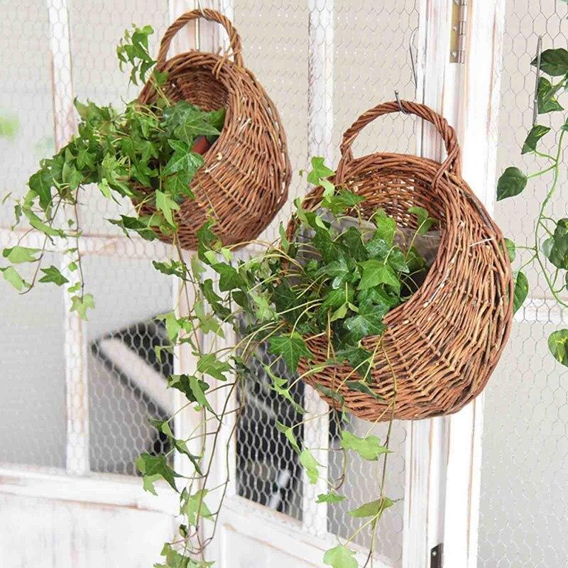 Ручная работа плетение ротанг цветок корзина зелень виноград горшок кашпо вешалка ваза контейнер стена растение корзина для дома сада украшения