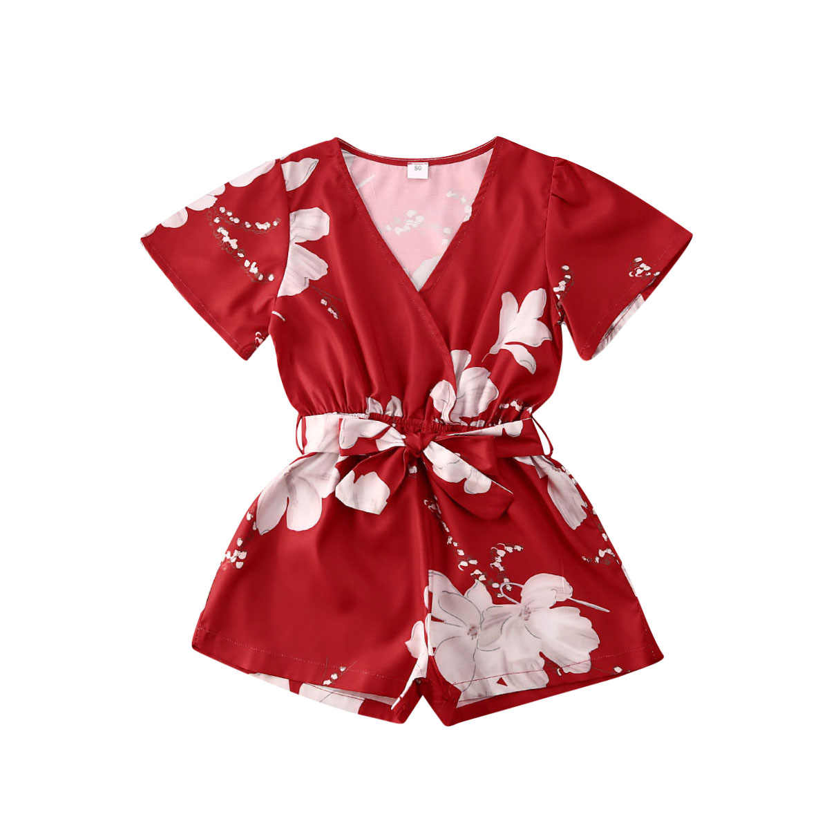 Summer Baby Boys Girl Kids Short Sleeve Heart Print Romper Round Collar Jumpsuit