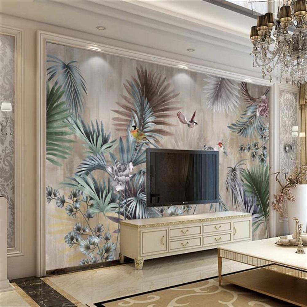Milofi custom wallpaper wall cloth Nordic plant leaves retro TV background wall painting