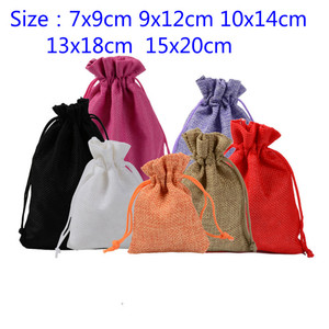 1Pcs/Lot Fashion Jute Drawstring Burlap Bags Wedding Favors Party Christmas Gift Jewelry Hessian Sack Pouches Packing 5 Sizes