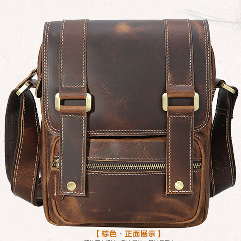 Men Leather Handbag Briefcase Laptop Tote Satchel Shoulder Messenger Bag Brown