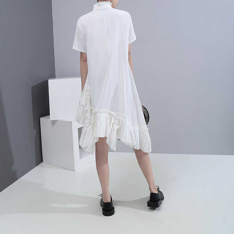 Neue 2020 Koreanische Stil Frauen Sommer Solide Weiß Midi Hemd Kleid Stehkragen Rüschen Saum Damen Stilvolle Nette Wear Kleid robe 6039