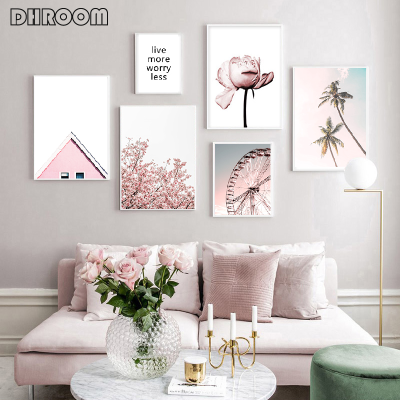 Pink Peony Wall Art Canvas Ferris Wheel Poster Palm Trees Landscape Print Painting Nordic Decoration Picture Living Room Decor