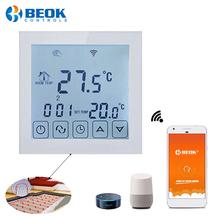 Beok WIFI termostat pokojowy programowalny inteligentny regulator temperatury elektryczne ogrzewanie podłogowe 16A współpracuje z Google Home Alexa tanie tanio TDS23WIFI 70 ° C-99 ° C DIGITAL Indoor Ładowarka Osadzone 2 0-3 9 Cali 200-240V 50-60 Hz ≤16A 5-99 Celsius 3 Sensors Mode
