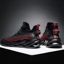 Running-Shoes Walking-Sneakers Black White Jogging Damping Lightweight Breathable Men