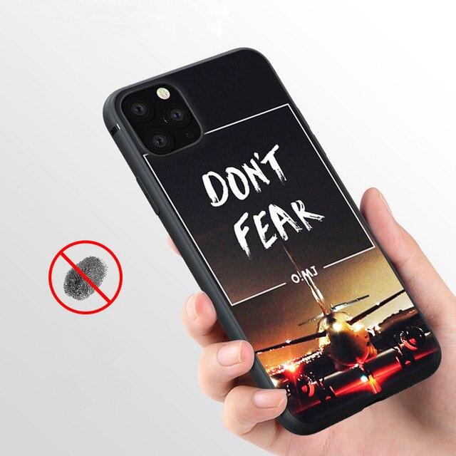 Coque não teme preto macio silicone caso de telefone para iphone 11 pro max x 5S 6s xr xs max 7 8 plus caso capa de telefone