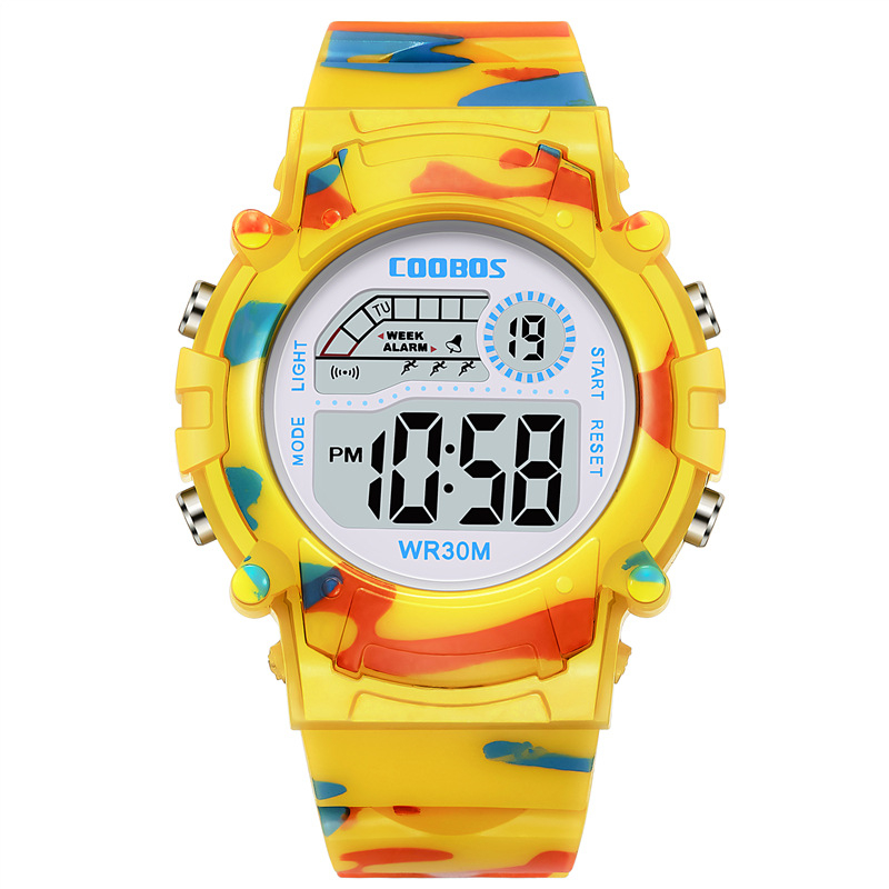 Children's Watch For 3-15 Years Old Kid Digital Alarm Clock Camouflage Colour Boy Girl Llluminate Hour Date Sports Male Yellow G