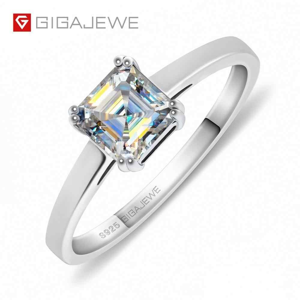 GIGAJEWE 0.8ct 5.5mm EF אסכר 18K זהב לבן מצופה 925 כסף Moissanite טבעת יהלום מבחן עבר תכשיטי אישה ילדה מתנה