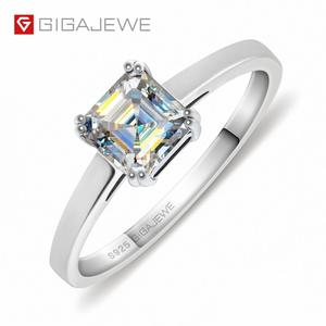 GIGAJEWE 0.8ct 5.5mm EF Asscher 18K White Gold Plated 925 Silver Moissanite Ring Diamond Test Passed Jewelry Woman Girl Gift(China)