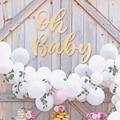 Holz Aufkleber Oh Baby Mädchen Holz Dekorationen für Home Schießen Requisiten Hintergrund Wand Decor Geburtstag Party-Baby-Dusche Liefert