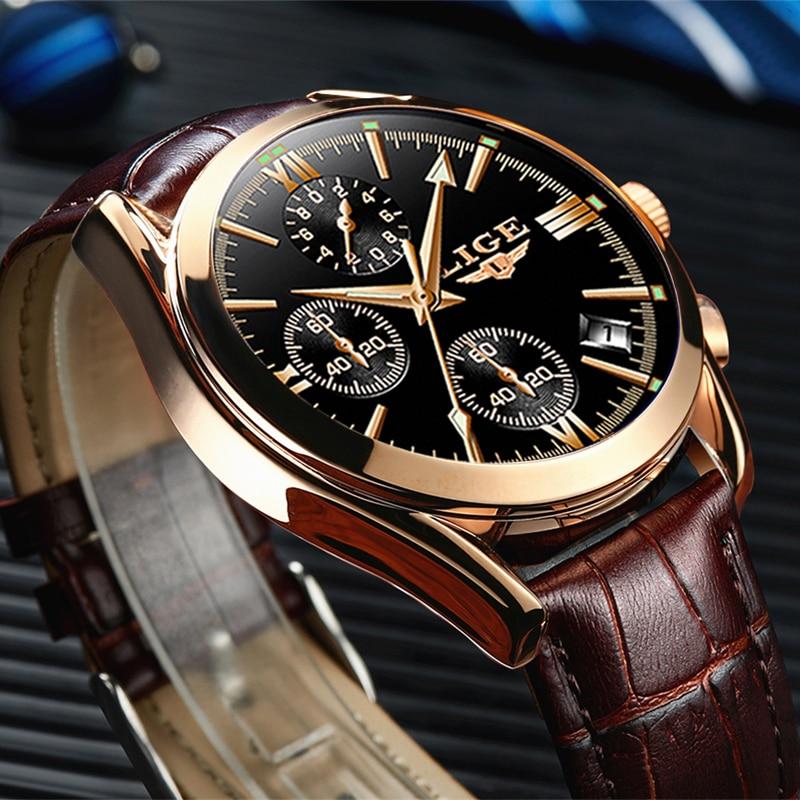 Montre Homme LIGE Fashion Gold Mens Watch Leather Analog Quartz Watches Men 30M Waterproof Sport Chronograph Date Male Clock+box