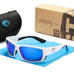 TUNA ALLEY Costa TR90 frame Polarized Sunglasses men Mirrored lens Brand Design Rubber Cover Driving Fishing Sun glasses UV400