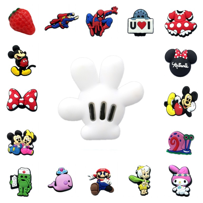 1pcs Mickey Avenger High Imitation Shoe Charms Strawberry Whale Shoe Accessories Buckles Fit Bracelets Croc Decor JIBZ Kids Gift