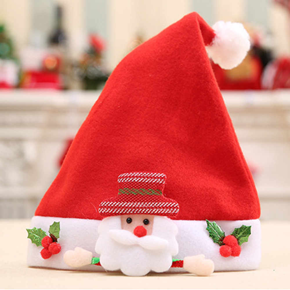 lovely Baby hat or girls boys a cap hats for children шапка детская Christmas Elk Red Hat Cozy Soft Warm Santa Headgear H5