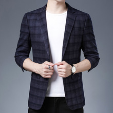 Suit Jacket Blazers Costume Business Long-Sleeve Plaid Formal Plus-Size Casual Young