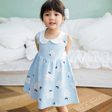 1Y-4Y  Printed Sleeveless Floral A-Line Cotton Infantile Princess Mini  Dress Toddler Baby Girl  Kid Lapel Dress Clothes tie dye sleeveless a line mini dress