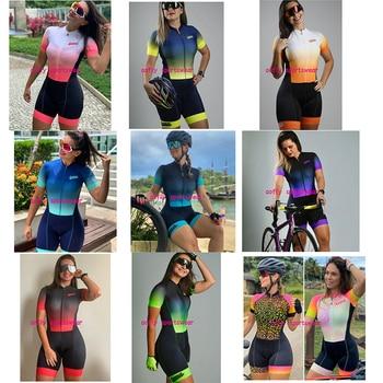 XAMA-Conjunto de Ropa de triatlón para mujer, Maillot de manga corta para...