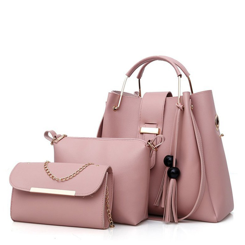 2021 New Fashion Wholesale Women Tassel Hand Bag 3 Pieces Ladies Plain Shopping Bag Set