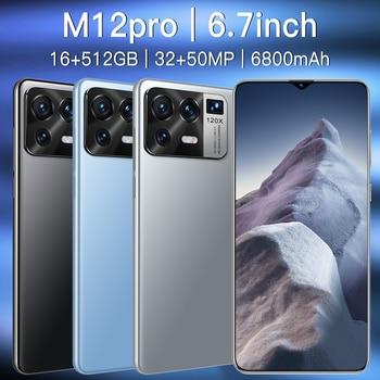 "M12 Pro 5G Network 6800mAh 32+50MP MTK6889 Dual SIM HiFi Android  16GB RAM 512GB ROM GPS 6.7"" Global Smartphone 2"