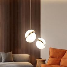 Nordique moderne pendentif lumières pour salle à manger chambre Restaurant décor hôtel doré LED suspension luminaire blanc boule abat-jour