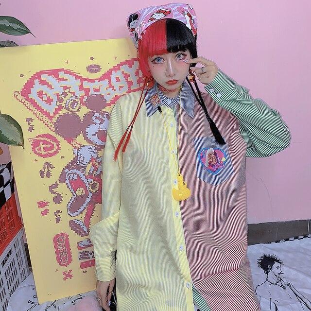 New Autumn Long-sleeved Striped Women Shirt Loose Cartoon Print BF Style Shirt Female Harajuku Sweet Hit Color Blouse Mujer 2
