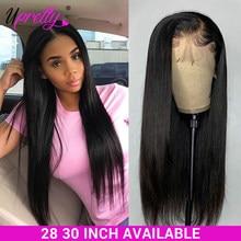Upretty-Peluca de cabello liso con cierre de encaje 4x4, peluca con malla Frontal prearrancada, 360 de encaje Frontal, densidad de 250, 28 y 30 pulgadas