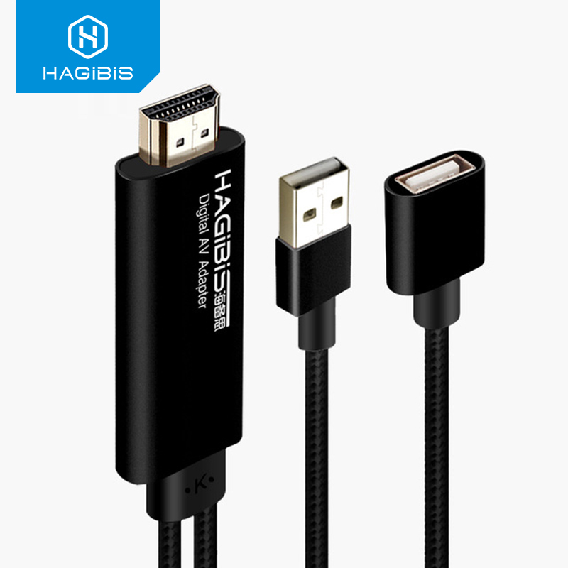 Hagibis 8 Pin to HDMI Cable HDTV <font><b>Digital</b></font> <font><b>AV</b></font> <font><b>Adapter</b></font> 1080P Smart For <font><b>Apple</b></font> iPhone 8 7plus 6S 5S iPad For Andriod Samsung 2 Meter image