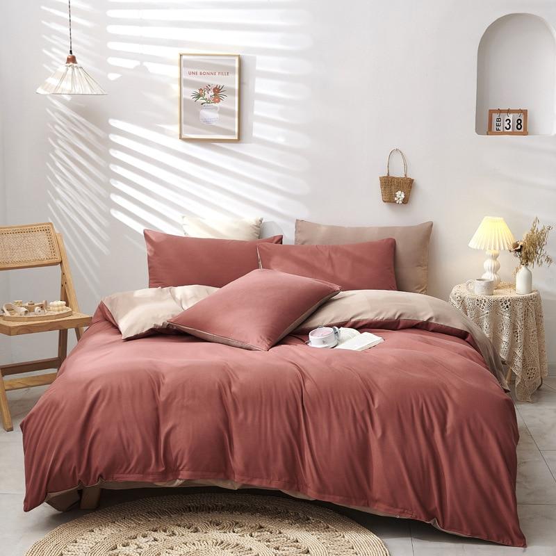 Pure Color Comforter Bedding Set 4pcs Bed Linen Set Nordic Duvet Cover Quilt Cover Bedclothes Pillow Case Home Decor Textile